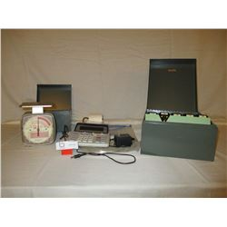 Postage Scale Adding Machine and 2 File Card Boxes