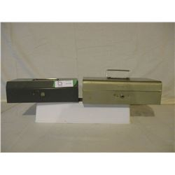 2 Metal Cash Boxes with Keys