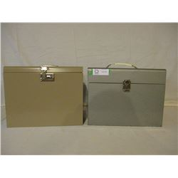 2 Large Metal File Storage Boxes