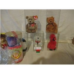 Assorted Box of Beanie Babies in Showcases