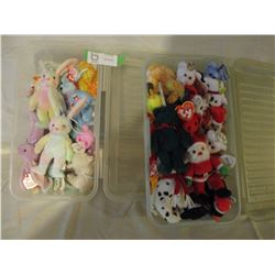 2 Plastic Cases of Assorted Mini Beanie Babies and Beanie Baby Magazines