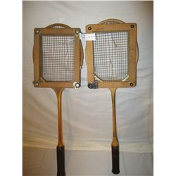 2 Wooden Tennis Rackets with Frames