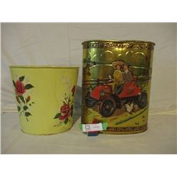 2 Decorative Metal Cans and Kitchen Garbage Can
