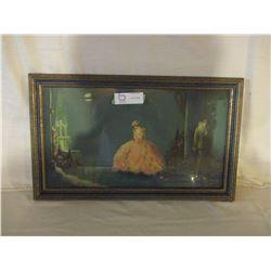 """Framed Elegant Girl Painting 12"""" by 20"""""""