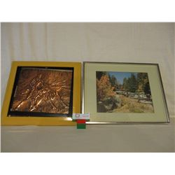 Framed Copper Bull Fighting and Nature Pictures