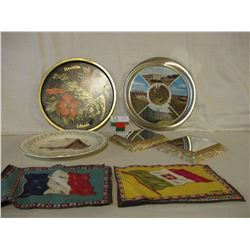 Flags of the World Cloth Pictures with Pair of Mirror Bases and 2 Commemorative Plaques