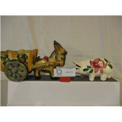 Donkey with Cart and Piggy Bank Ornament