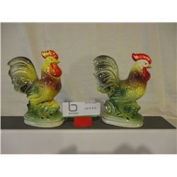 """Pair of Japanese Rooster Ornaments 6"""" T"""