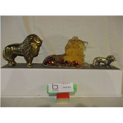 3 Brass and Glass Lion Ornaments