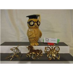 Japanese Owl Bank and 3 Window Ornaments