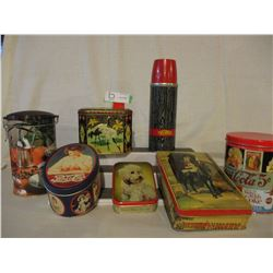 1905s Thermos Bottle and Tin Boxes