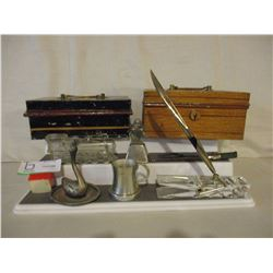 Assorted Decorative Items and 2 Metal Cash Boxes