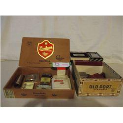 Vintage Lighter Assortment in Cigar Boxes