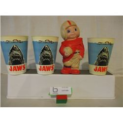 """Vintage Rubber Football Player and 3 Plastic Cups from 1975 """"Jaws"""" Movie"""