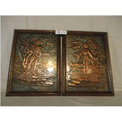 """Pair of Chinese Couple Copper Framed 11"""" by 15"""""""