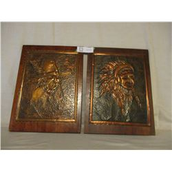 """Pair of Copper American Native Pictures 10"""" by 14"""""""