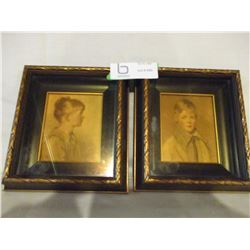 """Pair of Framed Boy and Girl Pictures Name Peter and Charlotte 7"""" by 7"""""""