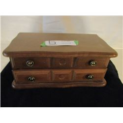 Wooden Jewelry Box with Rings and Stick Pins