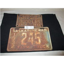 1932 Sask Gross WT. and Farm Truck License Plate