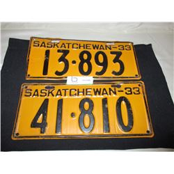 2 1933 Saskatchewan License Plates