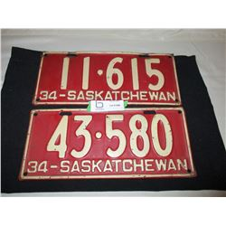 2 1934 Saskatchewan License Plates