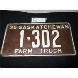 1935 Farm Truck License Plate