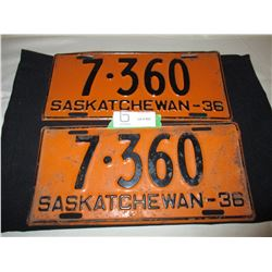 Pair of 1936 Saskatchewan License Plates