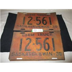 Pair of 1936 Saskatchewan Farm Truck License Plates