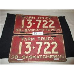 Pair of 1938 Saskatchewan Farm Truck License Plates
