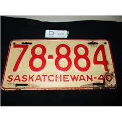 1940 Saskatchewan License Plate