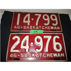 2 1946 Saskatchewan License Plates