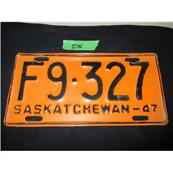 1947 Saskatchewan Farm Truck License Plate