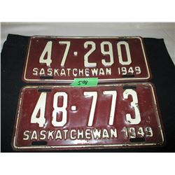 2 1949 Saskatchewan License Plates