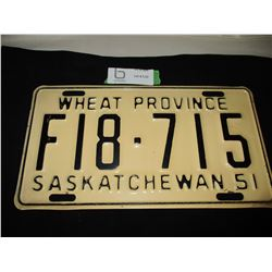 1951 Saskatchewan Farm Truck License Plate