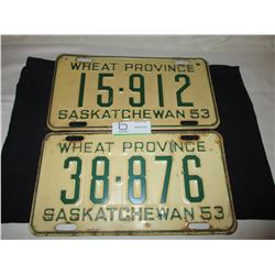 2 1953 Saskatchewan License Plates