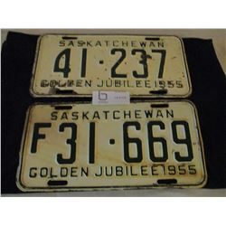 2 1955 Saskatchewan License Plates