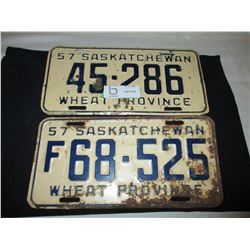 2 1957 Saskatchewan License Plates