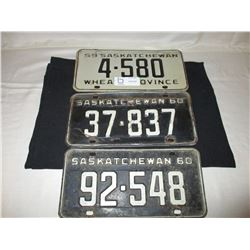 3 1959 and 1960 Saskatchewan License Plates