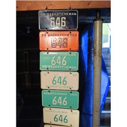 19 1960s Saskatchewan #646 License Plates (Some Pairs)
