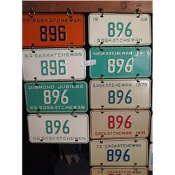 22 1960s Saskatchewan #896 License Plates (Some Pairs)