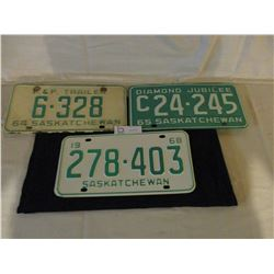 3 License Plates 1964, 1965 and 1968