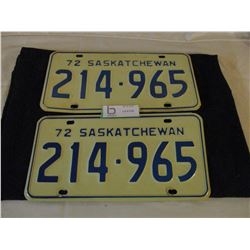 2 Pairs of 1972 Saskatchewan License Plates