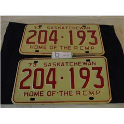 2 Pairs of 1973 Saskatchewan License Plates