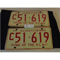 Pair of 1973 Saskatchewan Commercial License Plates