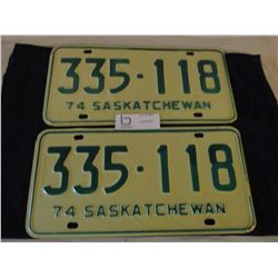 Pair of 1974 Saskatchewan License Plates