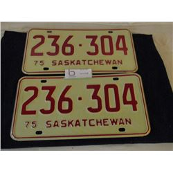 3 Pairs of 1975 Saskatchewan License Plates