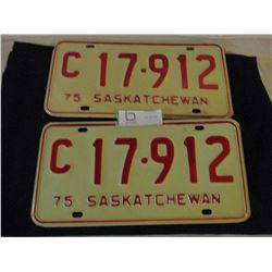 Pair of 1975 Saskatchewan Commercial License Plates