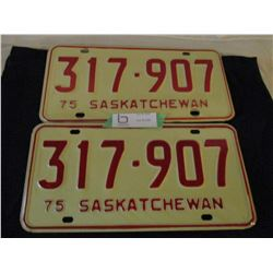 2 Pairs of 1975 Saskatchewan License Plates