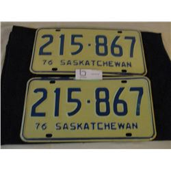 2 Pairs of 1976 Saskatchewan License Plates