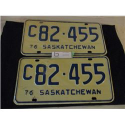 2 Pairs of 1976 Commercial Saskatchewan License Plates